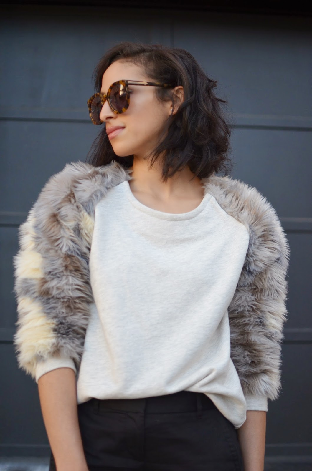 faux fur, faux fur sweatshirt, new hairdo, short curly hair, short hair, Karen Walker Super