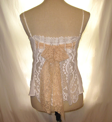 White cotton and lace romantic tank top strap summer blouse shirt, shabby chic