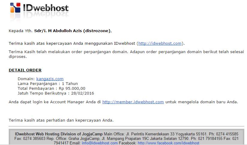 Cara Perpanjang Domain Di IDwebhost, Renewal Domain
