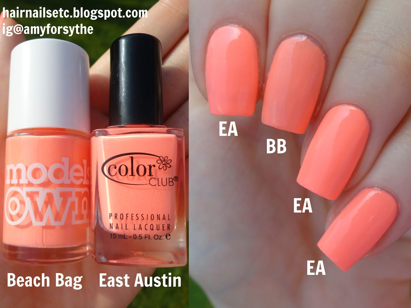 Dupe comparison of Color Club East Austin and Models Own Beach Bag