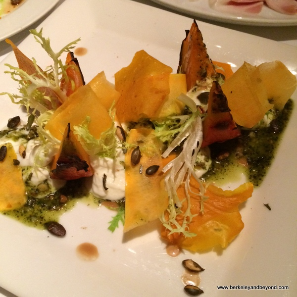 roasted kabocha squash with burrata and pumpkin-seed pesto at B&B Ristorante in The Venentian in Las Vegas