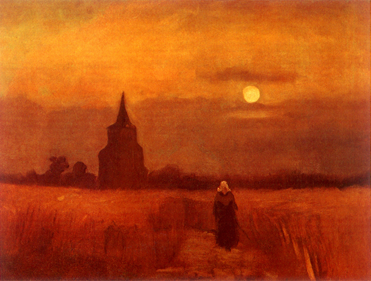 The Old Tower in the Fields by Vincent van Gogh alternate red tone image