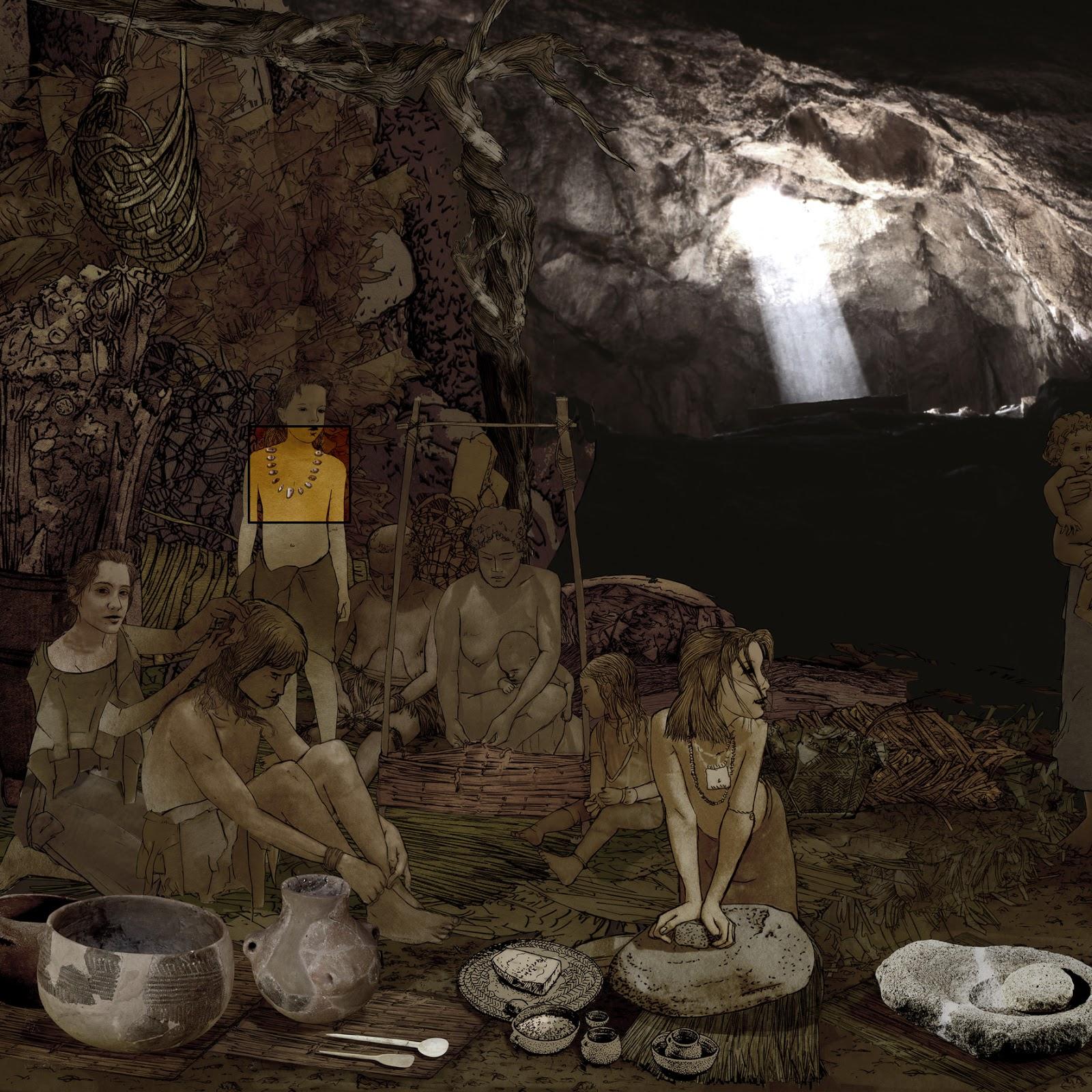 collar de conchas y caracolas, ambientacion, prehistoria