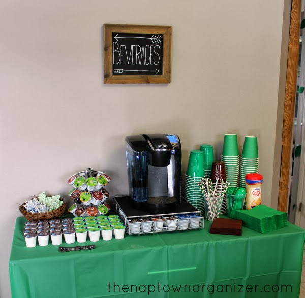 woodland birthday party drink and beverage station with keurig and striped straws