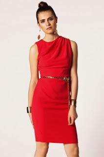 kemerli kırmızı elbise