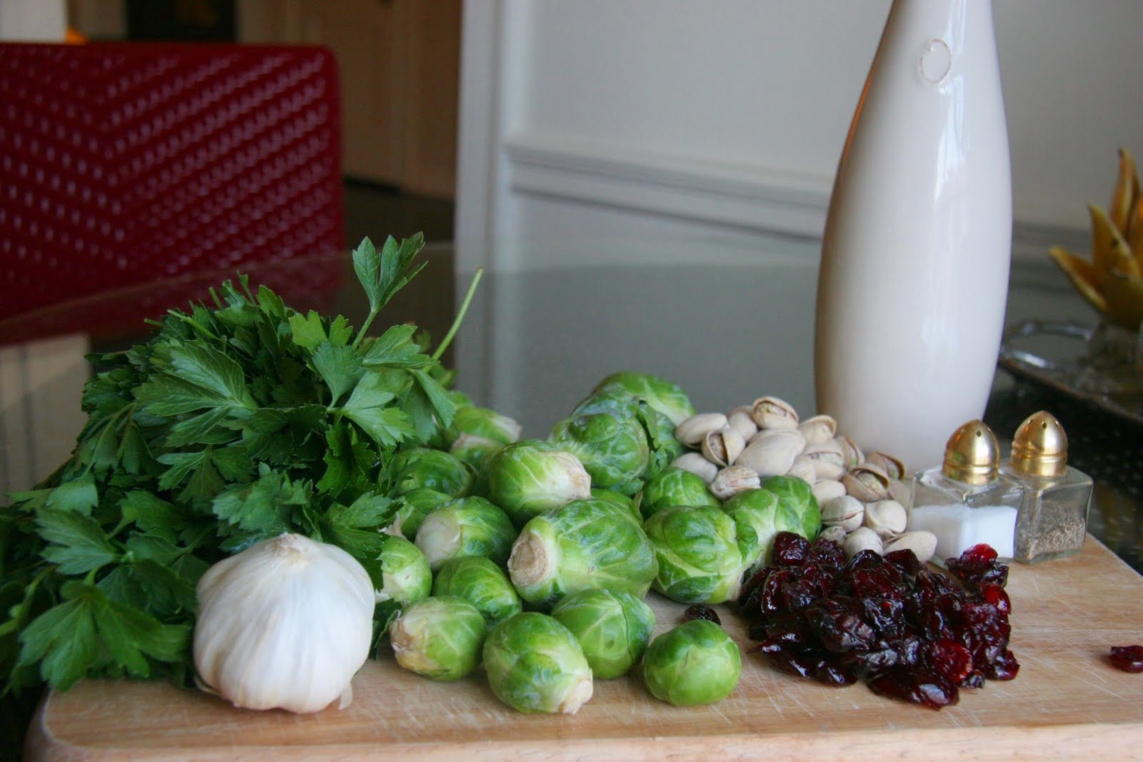 ... Cookin' Now: Roasted Brussels Sprouts with Cranberry Pistachio Pesto