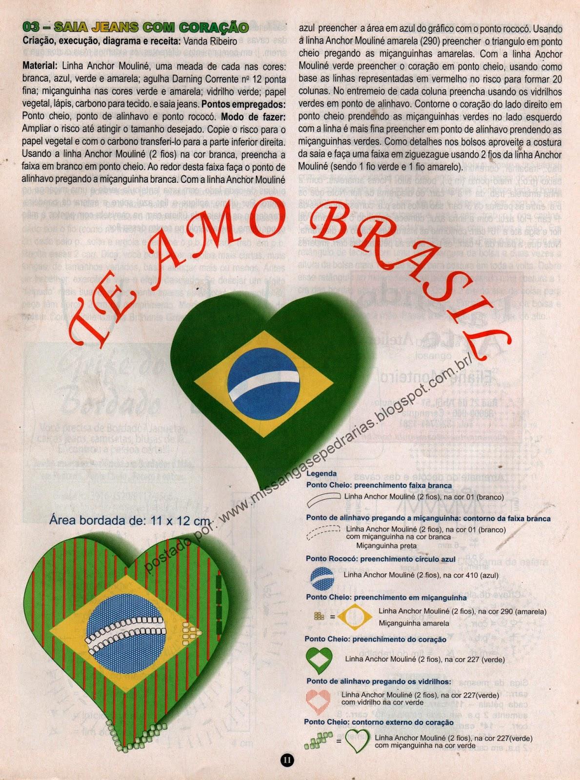 BANDEIRA DO BRASIL EM FORMA DE CORAÇÃO COM PEDRARIAS PASSO A PASSO