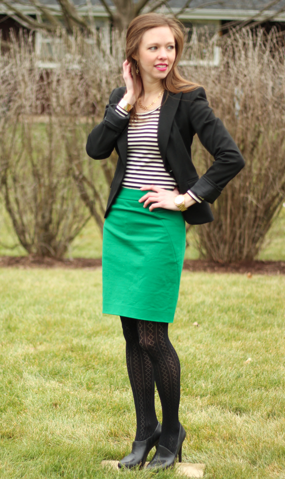 Striped T, Blazer, Green Skirt, Patterned Tights | StyleSidebar