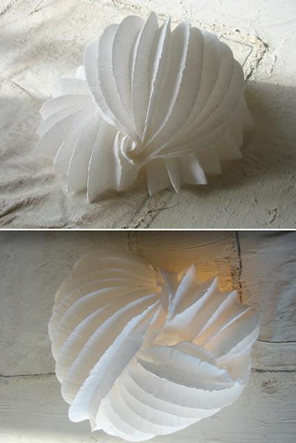 Lampada di carta fatta a mano , chiocciola marina