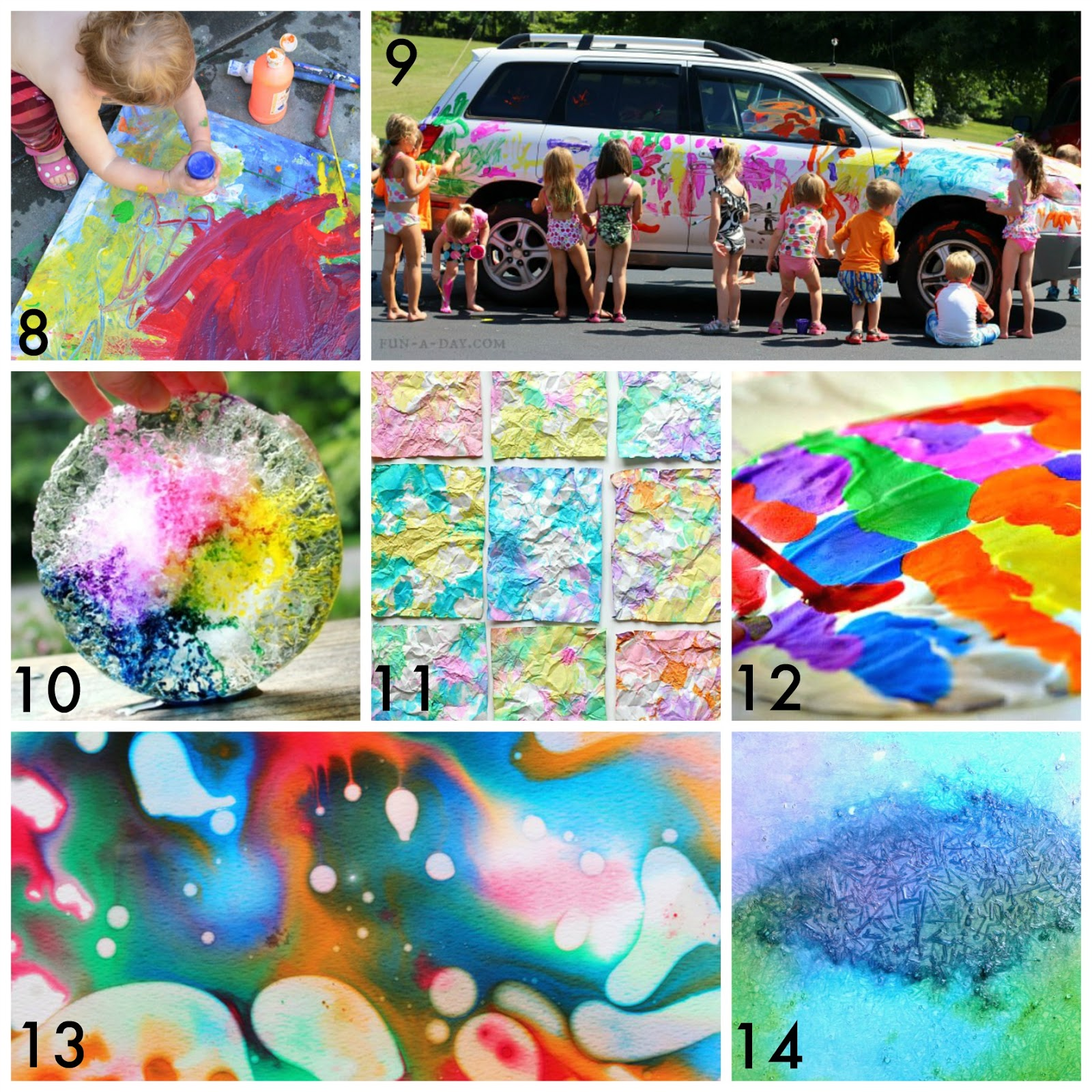Paint The Car By Fun A Day 10 Ice And Watercolors From Artful Parent 11 Crumpled Paper Art Buggy Buddy 12