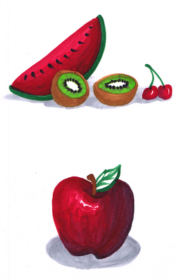 fruit, copic markers, watermelon, illustration