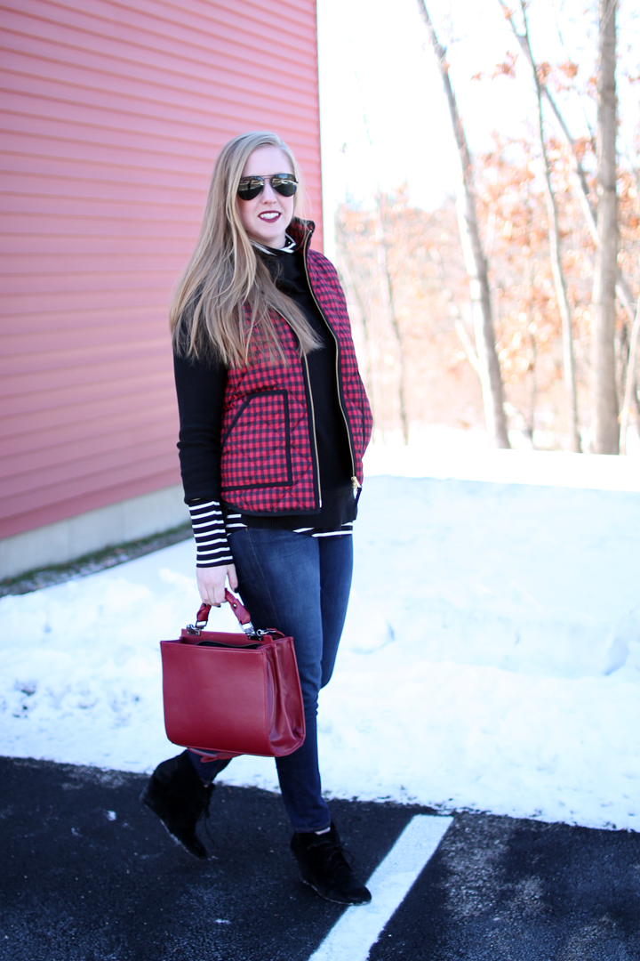 j.crew puffer vest buffalo plaid, boston style blogger, winter layers, red and black buffalo plaid, old navy striped top, black sweater, ray-ban aviators,