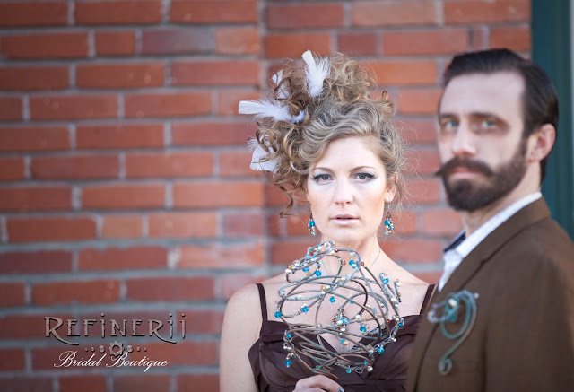 Copper steampunk wedding bouquet with turquoise accents