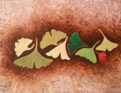 création peinture moderne sur toile feuilles arbre par peintre severine peugniez atelier cours dessin savenay