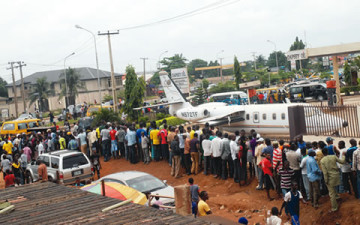 Omotola's Husband's Scrap Plane Causes Panic In Lagos