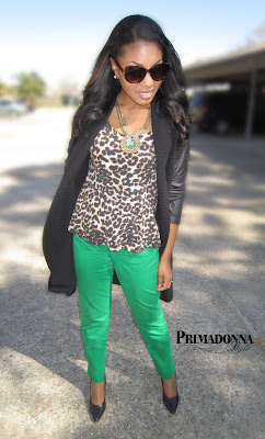 How to wear what to wear with green skinny pants leopard print peplum leather sleeve sweater coat Gabriella Rocha Saber Snake Print Black Heels Green Statement Necklace