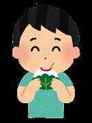 柏餅を食べる男の子のイラスト