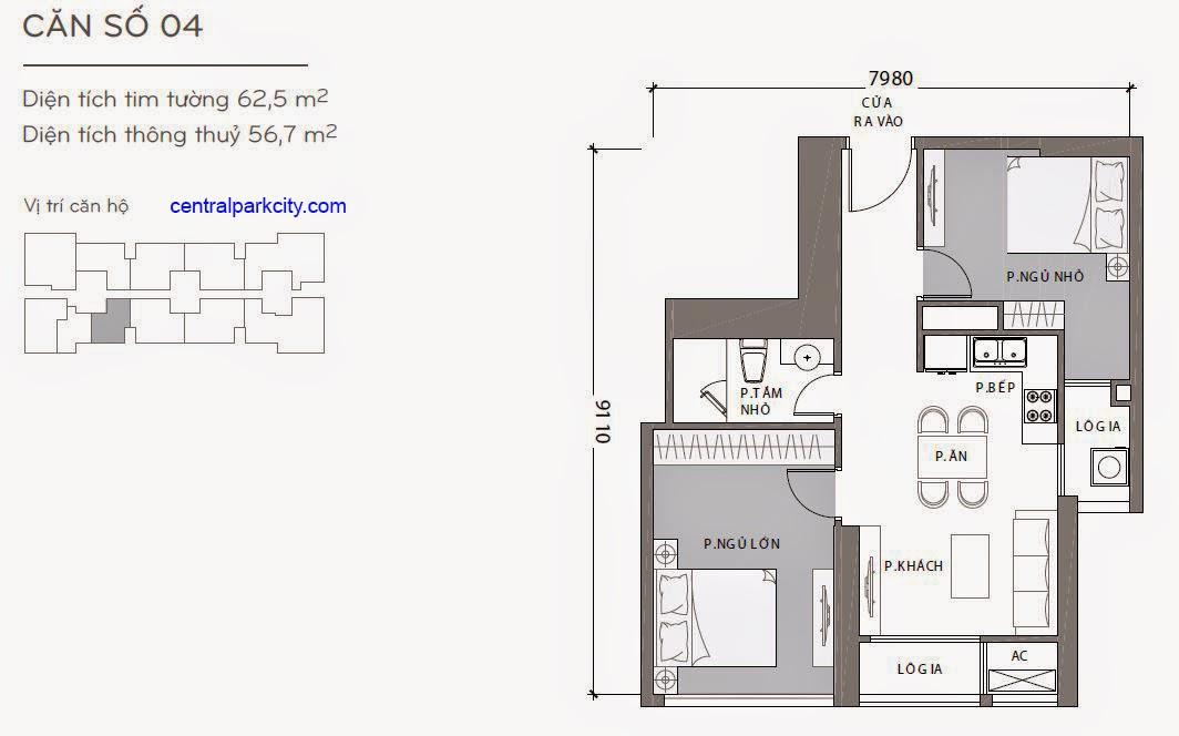 Căn hộ Landmark 1 - kiểu nhà số 04 - 62.5m2 - 2PN