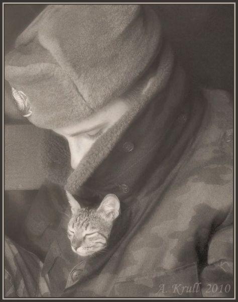 Homem com gato na roupa