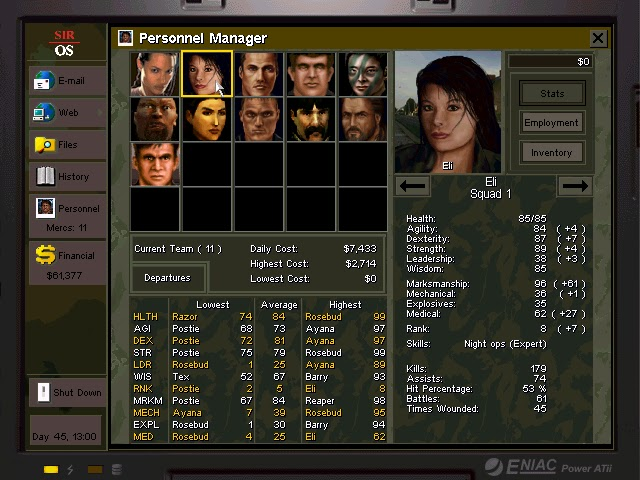 Jagged Alliance 2: Urban Chaos - Merc Statistics Description