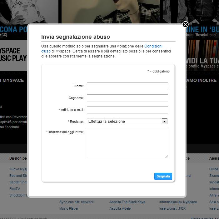 Contatta Myspace