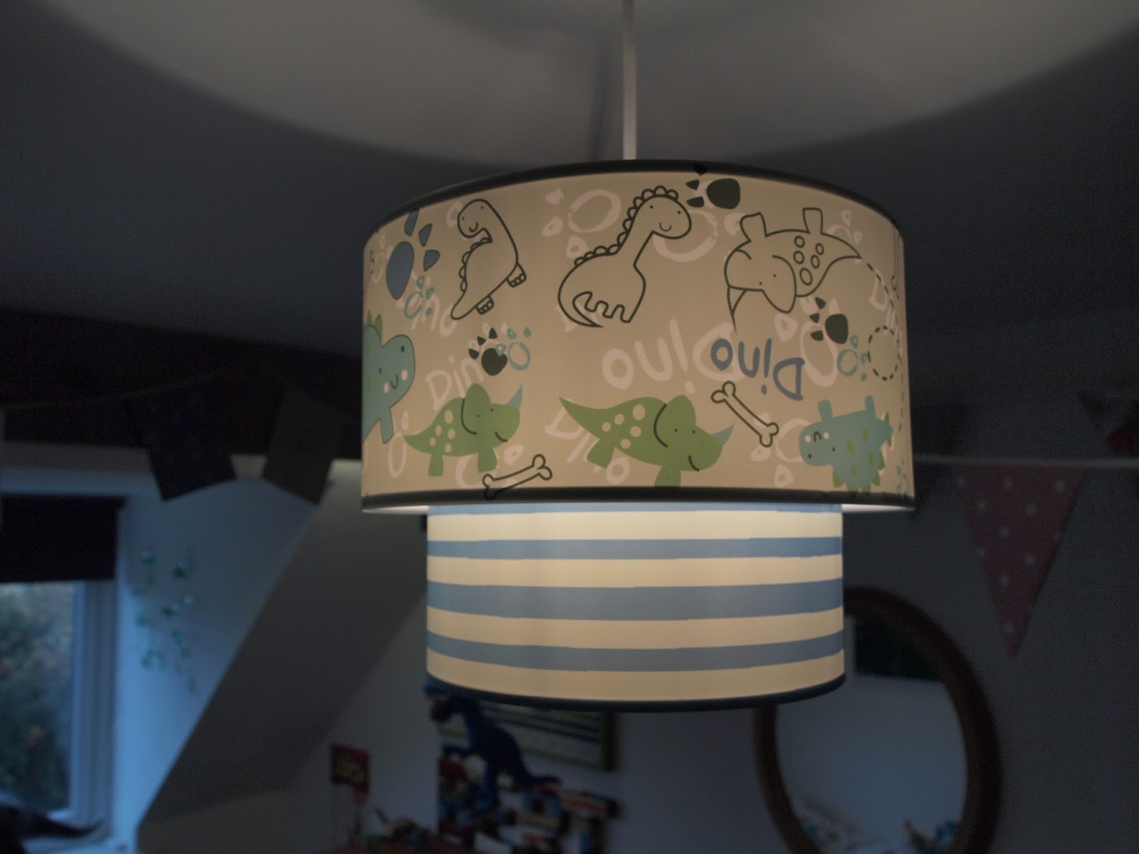Mrs bishops bakes and banter berts big boy room dinosaur lampshade i just had to have itdinosaurs and breton stripes yes mozeypictures Gallery