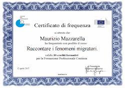 """Certificato di Frequenza """"Raccontare i Fenomeni Migratori"""""""