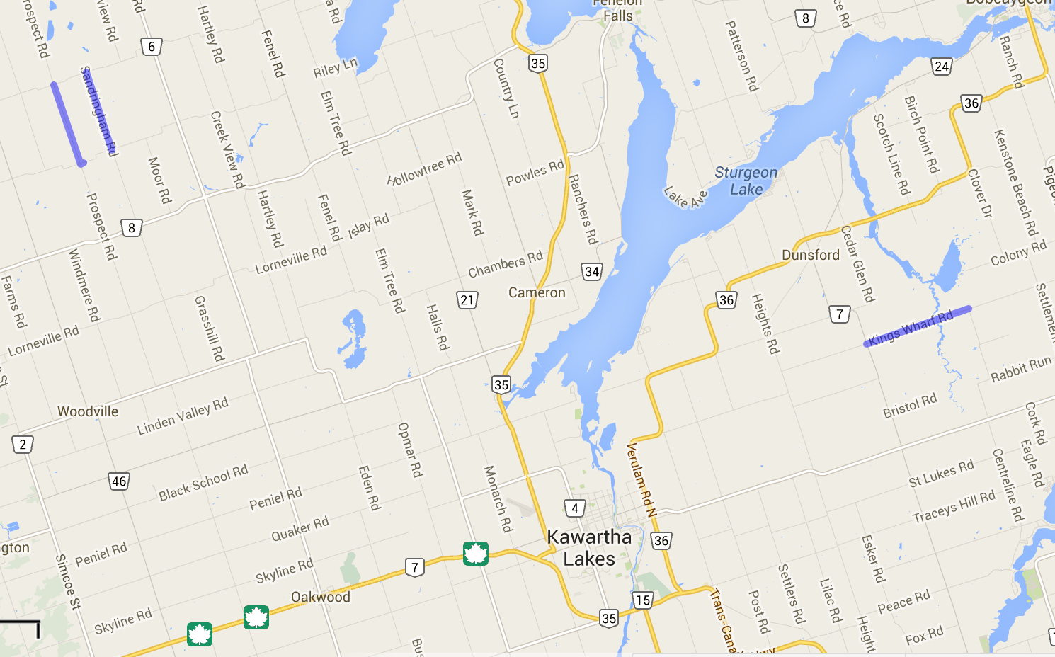 3 Kawartha Lakes Flooded Roads Closed indicated by blue lines on portions of roads on map of Kawartha Lakes.