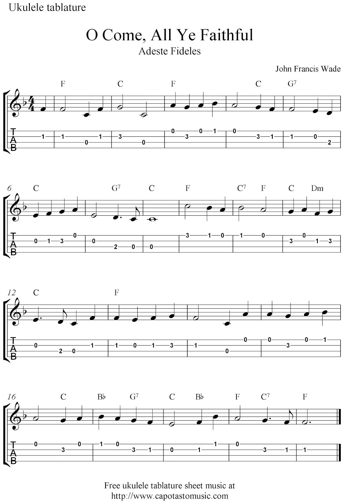 O Come, All Ye Faithful (Adeste Fideles), free Christmas ukulele tab sheet music