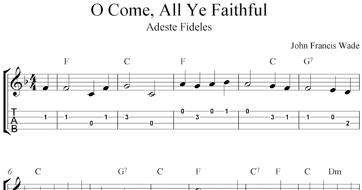 O Come, All Ye Faithful (Adeste Fideles), free Christmas ukulele tab sheet music