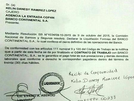 Honduras tierra libre honduras inician masivos despidos for Banco continental oficina principal