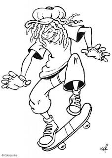 Desenhos Para Colori as Skatista profissional na ativo   desenhar