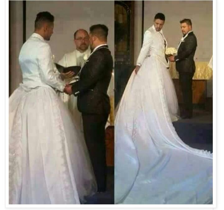 Gay guys in a wedding dress