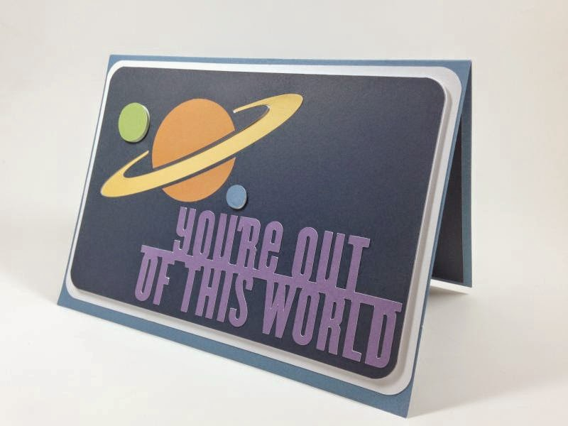 Close To My Heart Artfully Sent Cricut Cartridge Out of This World Pop-up card sideview