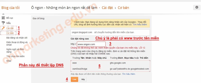 Hướng dẫn trỏ tên miền về blogspot (blogger) 1