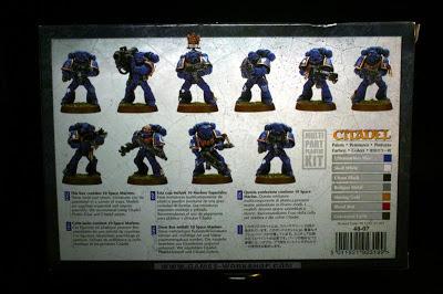 Contraportada de la caja de Marines Espaciales de Warhammer 40000
