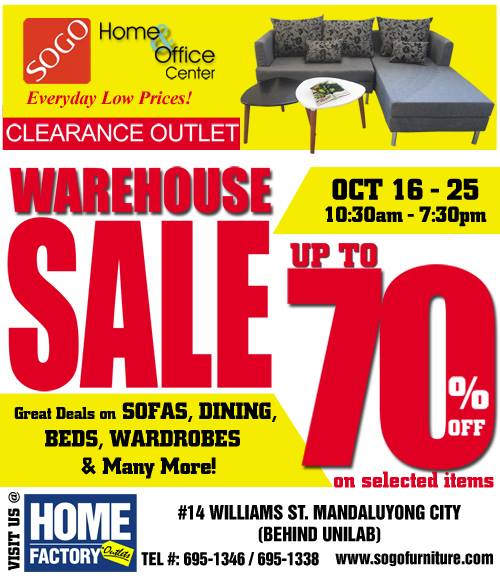 Manila Shopper Sogo Home Office Center Warehouse Sale October 2015