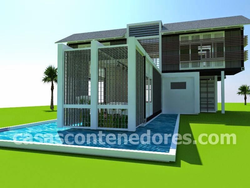 Casas contenedores proyecto de casa contenedor con piscina natural envolvente - Casas en contenedores marinos ...