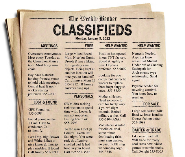 The Weekly Bender - Classified Ads