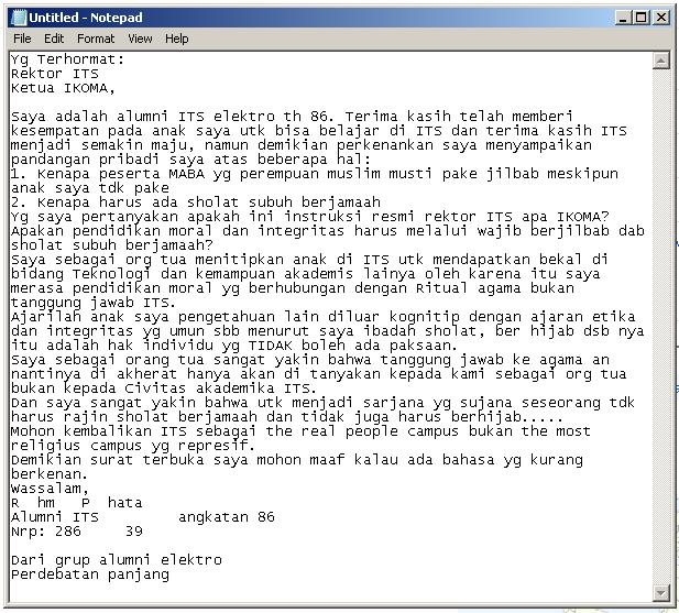 Surat Ortu Soal OSPEK