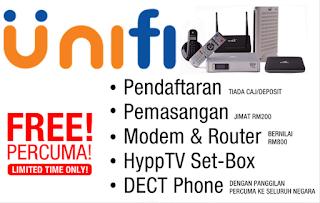 unifi streamyx pendaftaran percuma pemasangan percuma modem router wifi percuma set hypptv percuma dect phone percuma