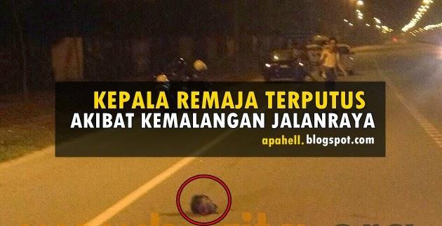 Kepala Remaja Terputus Akibat Merempuh Besi Penghadang Jalan (3 Gambar) http://apahell.blogspot.com/2014/10/kepala-remaja-terputus-akibat-merempuh.html
