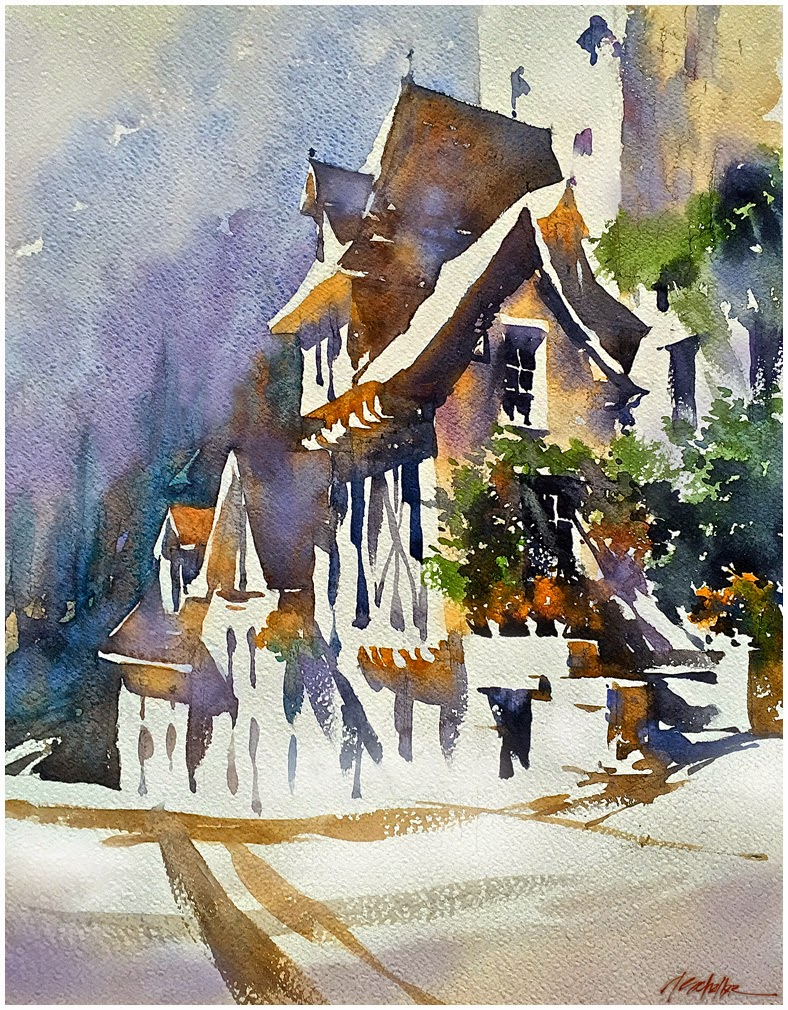 Thomas w schaller watercolor sketch french cottage for Watercolor cottages