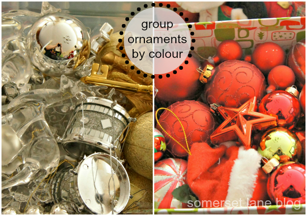 organizing Christmas ornaments