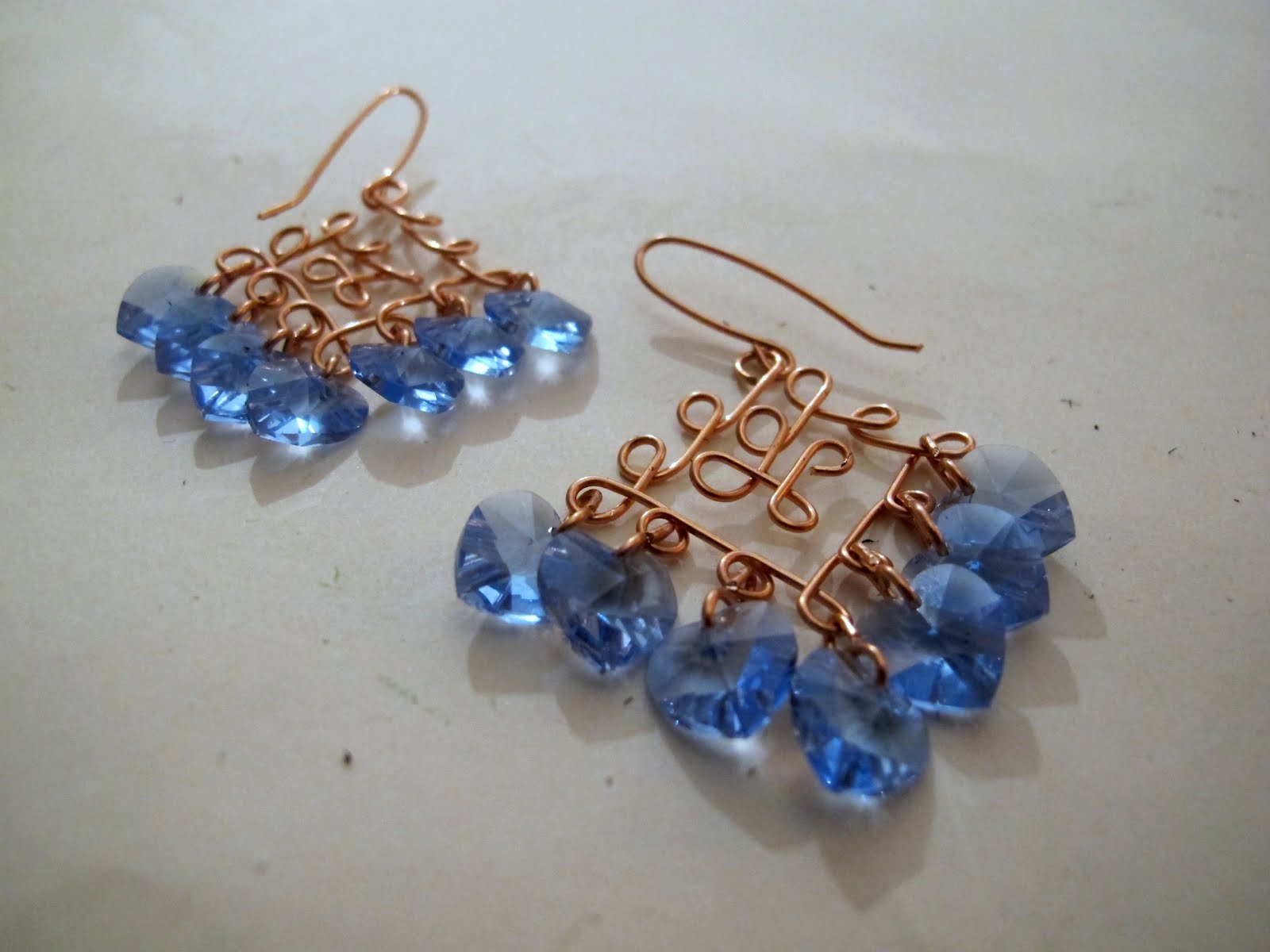 Wire Wrapped Chandelier Earrings With Swarovski Crystal Hearts And  Filigree Design I Think I've Used Every Color Imaginable!