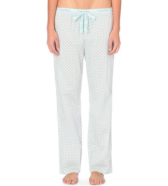 calvin klein blue print pyjama bottoms, calvin klein pyjama trousers,