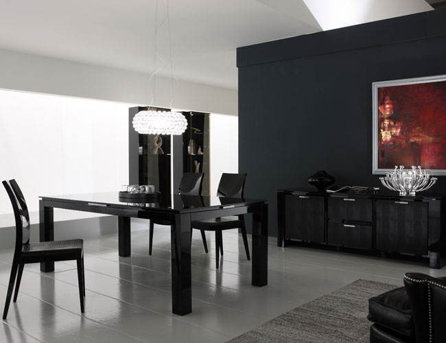 luxury modern dining room set with black wall