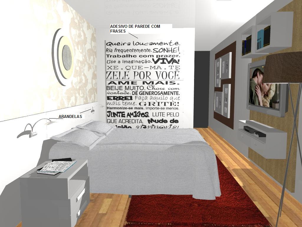 Projeto De Decora O Em 3d Suite De Casal Casa E Imoveis Decora O  ~ Decoracao Parede Quarto Casal E Quarto De Casal Com Suite