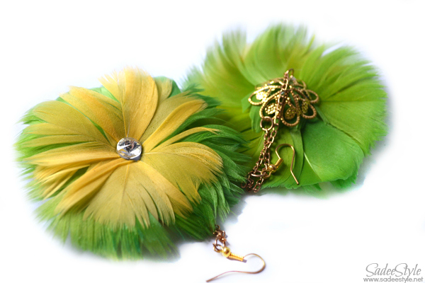 Green and Yellow Feather earrings by Romwe
