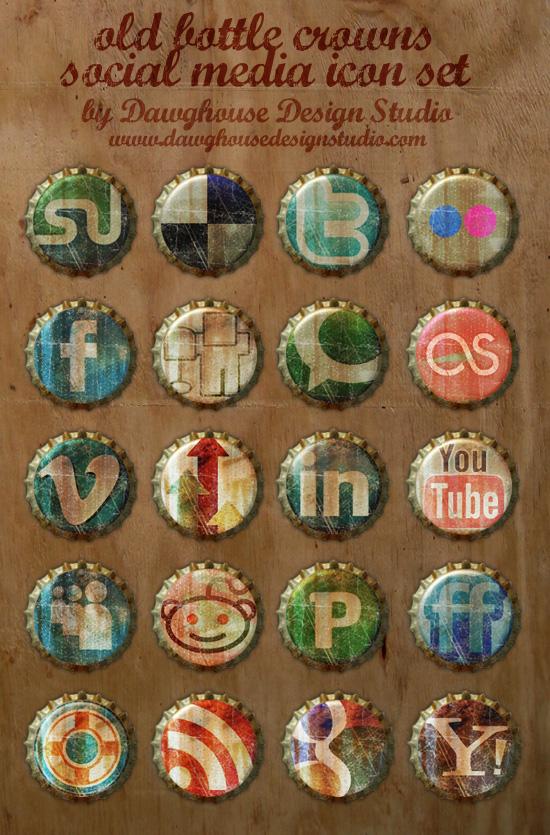 Old Bottle Crowns Icon Set